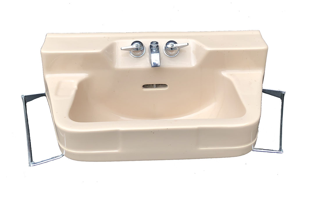 The Period Bath Supply Company A Division Of Historic Houseparts Inc Antique Wall Hung Under Mount Sinks Antique Crane Suntan Art Deco Oxford Wall Mount Sink With Chrome Legs And